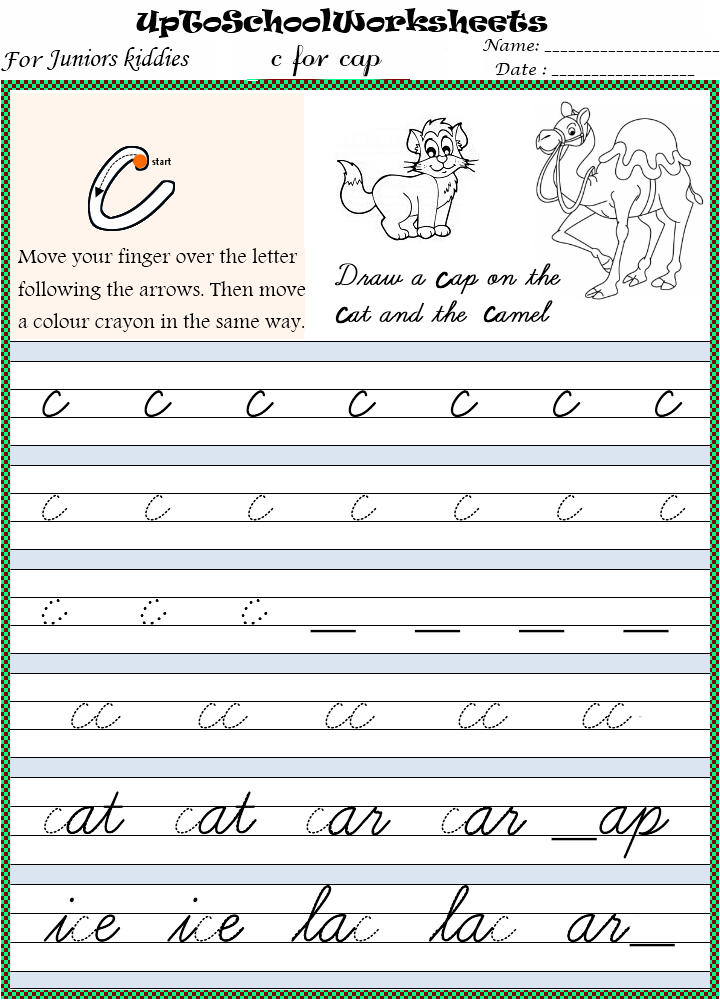 Kindergarten Worksheets For Preschools, Playschools and After Schools