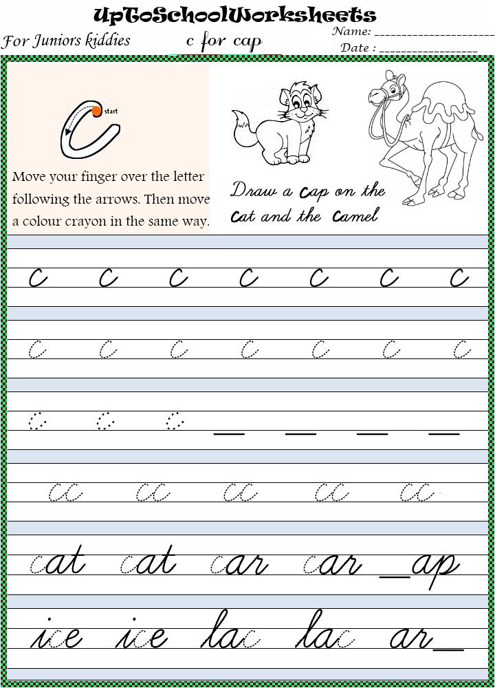 KINDERGARTEN Fun based Cursive Handwriting Worksheets : Concept Based ...