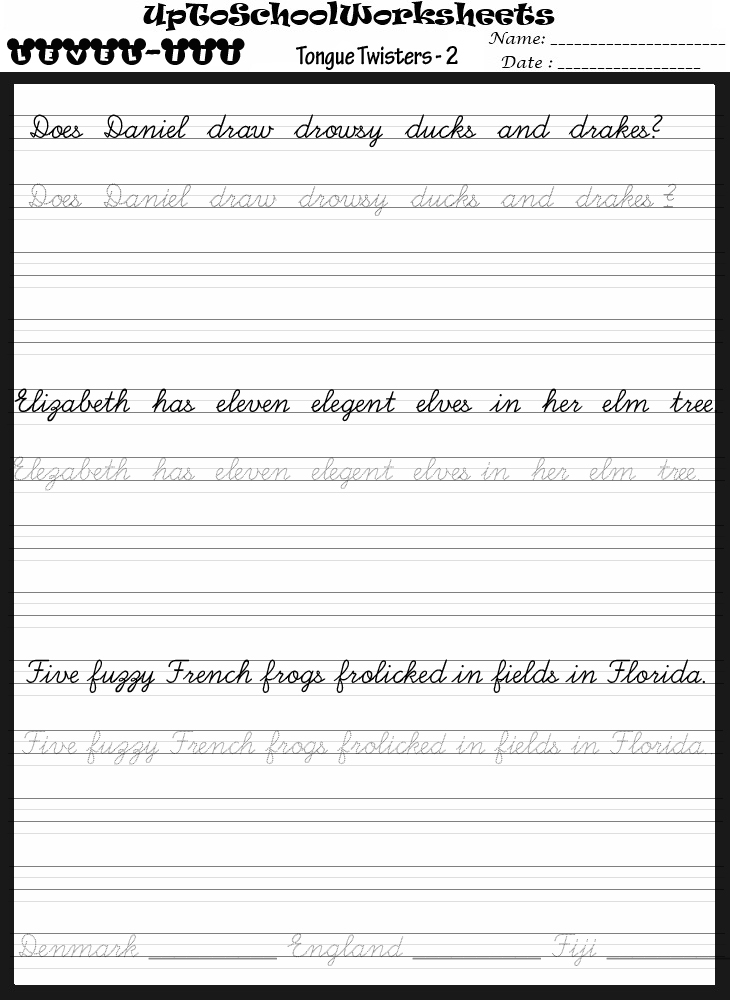 Handwriting worksheets for ages 9 and above (40 Worksheets)